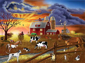 New Sealed Melissa & Doug RUSTIC DUSK Farm 200 pc Jigsaw Puzzle