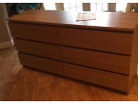 Ikea Malm double chest of 6 drawers in Ash brown