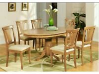 Solid Pine Dinning Room Table 6 chairs