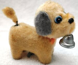 Vintage Toy Key Wind-up Dog w Bell  1950s Era Working  Tail wags