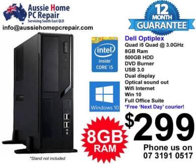 i5 Quad, Huge 8GB Ram, 500GB HDD. USB3, DVDRW, WIFI, Win 10.