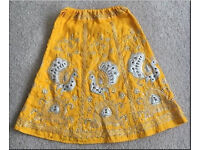 Girls Indian Long Yellow Skirt - 12-24m