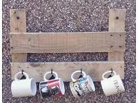 Hand crafted pallet wood coffee mug/tea cup wall mounted hooks