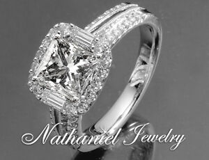 2 Ct Princess Cut Engagement Wedding Ring Certified Diamond White Gold 14k
