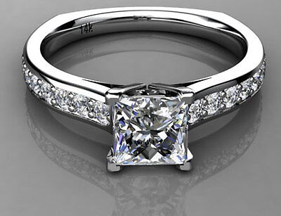 1 carat Princess & Brilliant Round Cut Diamond Engagement Ring White Gold 14k on Rummage