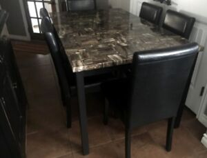 PRICE REDUCED  marble look table and 6 chairs