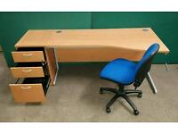 Beech Wave/Curved Desk with Matching 3 Drawer Pedestal and Swivel Chair ! 10 Available !