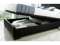 Double faux leather ottoman bed frame