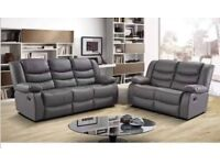 Luxury Julie Bonded Leather Recliner Sofa With Pull Down Cupholders !