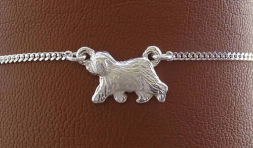 Small Sterling Silver Old English Sheepdog Moving Study Anklet