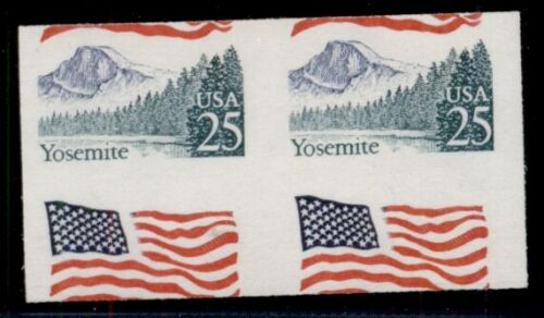 Us #2280a, 25¢ Flag Over Yosemite, Double Error – Imperf & Miscut Pair, Nh