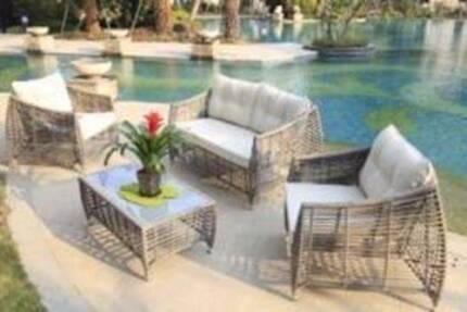 4PC Brand New Wicker Rattan Outdoor Sofa Lounge Furniture Setting