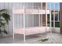 Special Offer * Brand new Solid INGLE TOP / SINGLE BOTTOM Metal Bunk Bed With MATTRESS + QUICK DROP