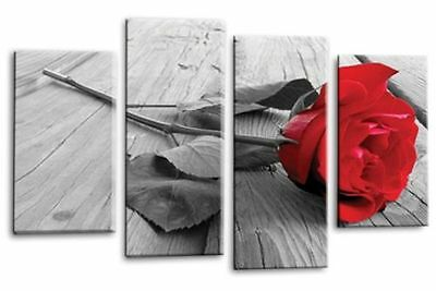 Large Rose Flower Grey Red Black White Canvas Wall Art Picture Print 4 Panel