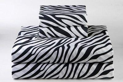 Flat Sheet Egyptian Cotton Zebra print, USA Size 400 TC Soft and Luxury ()