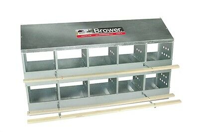 Brower 10 Hole Galvanized Hen Nest Chicken Nesting Laying Box.   Made in USA!