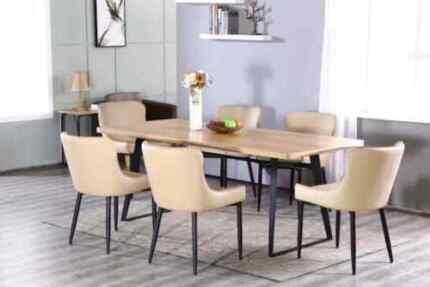 Brand New 7pc Oak Timber Veneer Dining Table+6 PU Chairs Set