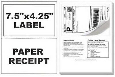 100 Self Adhesive Mailing Shipping Labels W Tear Off Paper Receipt Paypal