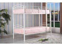 **FREE DELIVERY** BRAND NEW 3FT SINGLE WHITE METAL BUNK BED FRAME WITH VARIETY OF BUNKBED MATTRESSES