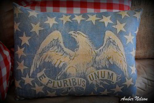 Antique primitive vintage pluribus unum stars eagle patriotic 4th of July pillow
