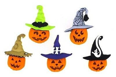 Jesse James Buttons ~ Dress It Up ~ Jacks In Hats 6688 ~Halloween Jack O Lantern](Halloween Buttons)