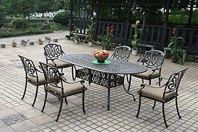 Elisabeth patio dining set 7 piece cast aluminum outdoor furniture table chairs Cast Aluminum Dining Furniture