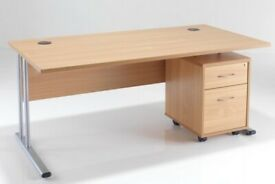 1200 Office Desk Beech With Silver Frame NEW