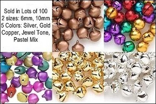 Wholesale LOT 1000 JINGLE BELLS ~ Mix from 5 Colors + 2 Sizes Beads Charms