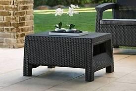 Keter rattan effect coffee table, patio garden Corfu
