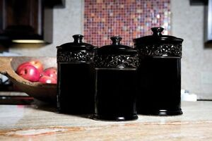Drake Design Ceramic Scroll Black Canisters Set Of 3 Free