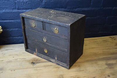 VINTAGE ANTIQUE INDUSTRIAL WOODEN ENGINEERS TOOL CHEST CABINET DRAWERS