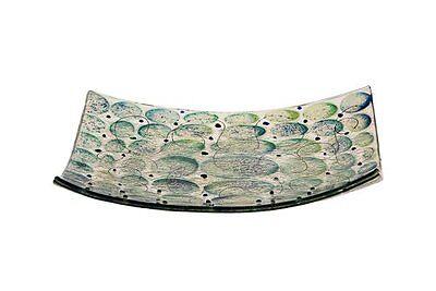 (Passover Artisanal Blue / Green Glass Matzah Plate Circle Spots design 10