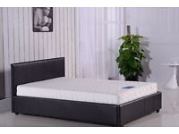 **FREE DELIVERY** KINGSIZE 5FT LEATHER BED FRAME WITH MATTRESS OF CHOICE, SINGLE/DOUBLE AVAILABLE