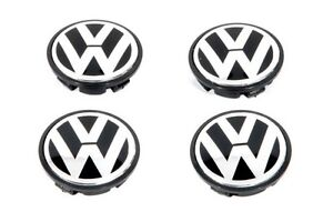 VW Black Chrome Wheel Center Cap Jetta Golf Passat SET 4 55mm  WHEEL CAP SET 4