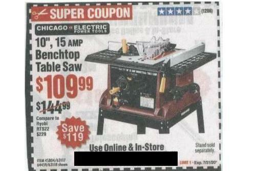 Chicago 10 15A Benchtop Table Saw Paper Coupon Harbor Freight Tools Save 35 - $2.99