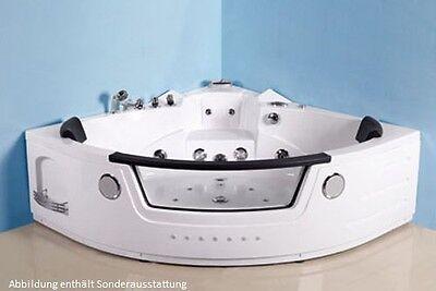 Eckbadewanne Whirlpool RUW621C-FO 157x157x66 cm Vollausstattung 30 Düsen O3 LED