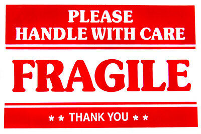 Premium 100 Labels 2x3 Please Fragile Handle With Care Shipping Mailing Stickers