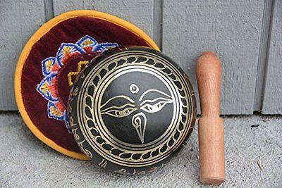 "Tibetan Singing Bowl Striker 4.5"" Wooden Cushion Mediation Hand Hammered Yoga"