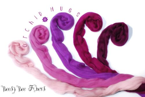 ORCHID HUES - Merino Wool Roving Combed Top 5 colors Spinning Felting Wool 4 oz