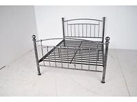 4'6 Double Iceland Metal Bed Frame Antique Pewter Finish
