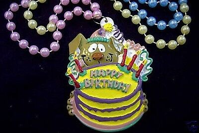 """HAPPY BIRTHDAY CAKE"" CANDLES PUPPY DOG MARDI GRAS NECKLACE PARTY BEAD (B585)"