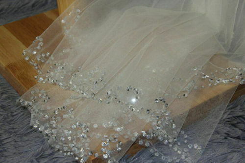 Gorgeous White or Lite Ivory 2 Tier Layer Sequins Bugle Bead Wedding Bridal Veil