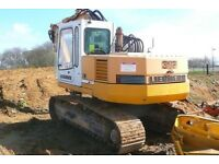 15 ton digger and driver hire £27ph