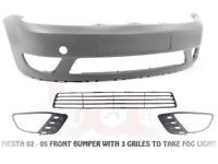 FORD FIESTA MK 6 FRONT BUMPER WITH GRILLS NEW 2001 - 2005