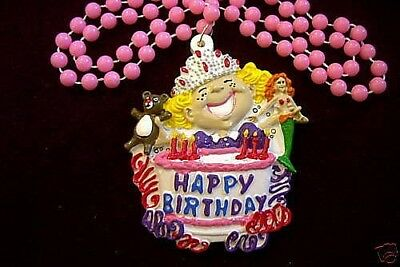 "GIRLS ""HAPPY BIRTHDAY CAKE"" BEAR ARIEL MARDI GRAS NECKLACE BEAD (B586)"