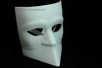 Blank White Black Bauta Masquerade mask for man boys Halloween midnight costume - Halloween Mask White And Black