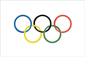 OLYMPIC RINGS FLAG 5' x 3' Winter Summer Olympics Games