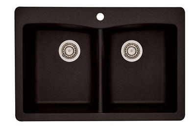 """33"""" Kitchen Sink 1 Hole Dual Mount Double Bowl Classic Coffee Granite Composite"""