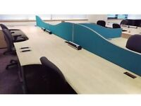 1600mm maple corner core desk with 3 drawer pedestal commercial grade