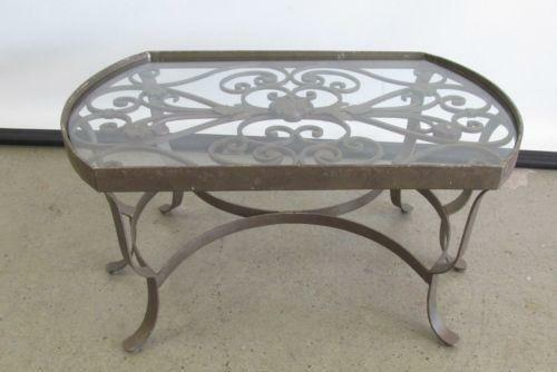Antique glass top table ebay for Kitchen table with glass insert